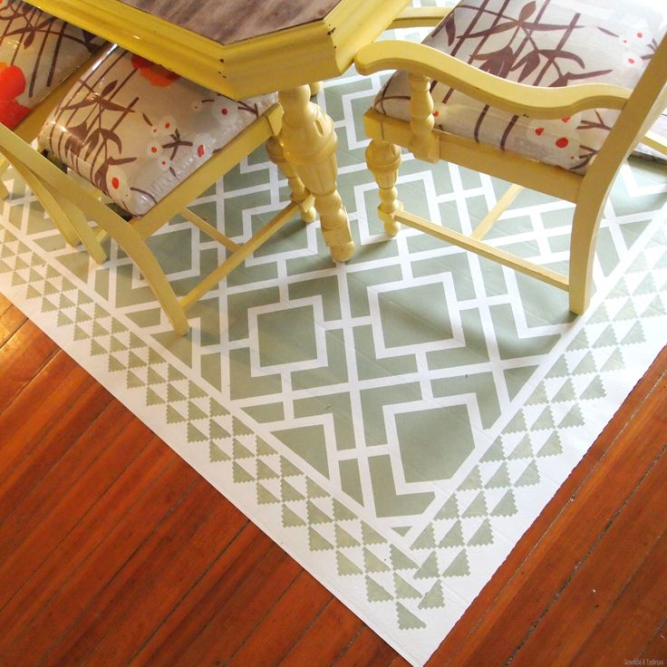 painting linoleum rug | PAINT a remnant of linoleum to look like an area rug for under your ...
