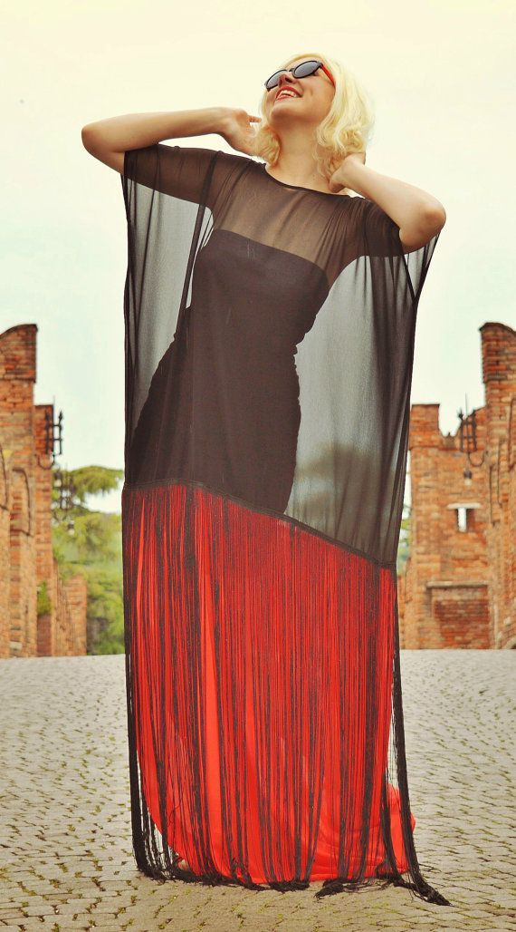 Black and Red Maxi Dress Summer Sheer Dress with Fringes https://www.etsy.com/listing/279914108/black-and-red-maxi-dress-summer-sheer?utm_campaign=crowdfire&utm_content=crowdfire&utm_medium=social&utm_source=pinterest