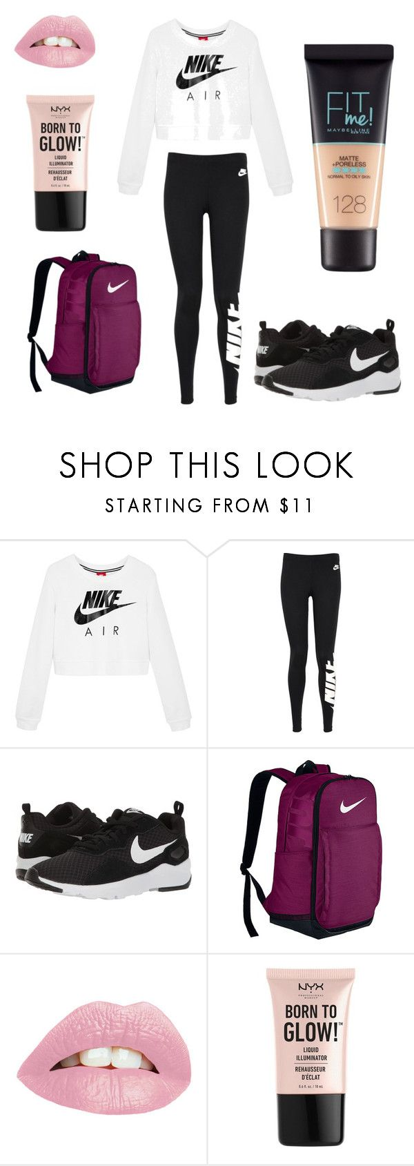 """""""Nike"""" by lilyanna-miller ❤ liked on Polyvore featuring NIKE, NYX and Maybelline"""