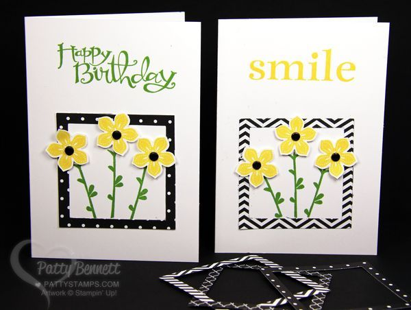 woolrich elite Black and White frame Petite Flower Punch card for any occasion made easy with square framelits from Stampin Up  by Patty Bennett  www PattyStamps com