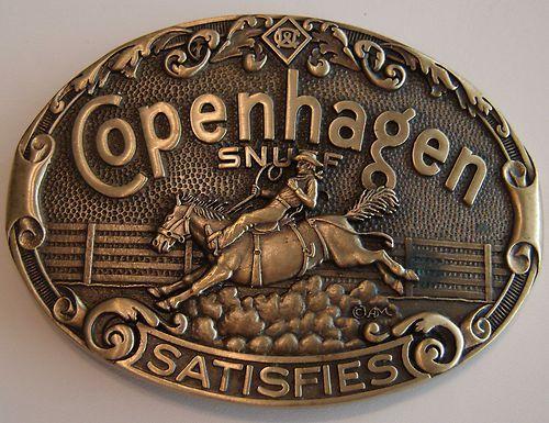 Vintage Copenhagen Snuff Satisfies Cowboy Bronco Horse Belt Buckle ADM Brass