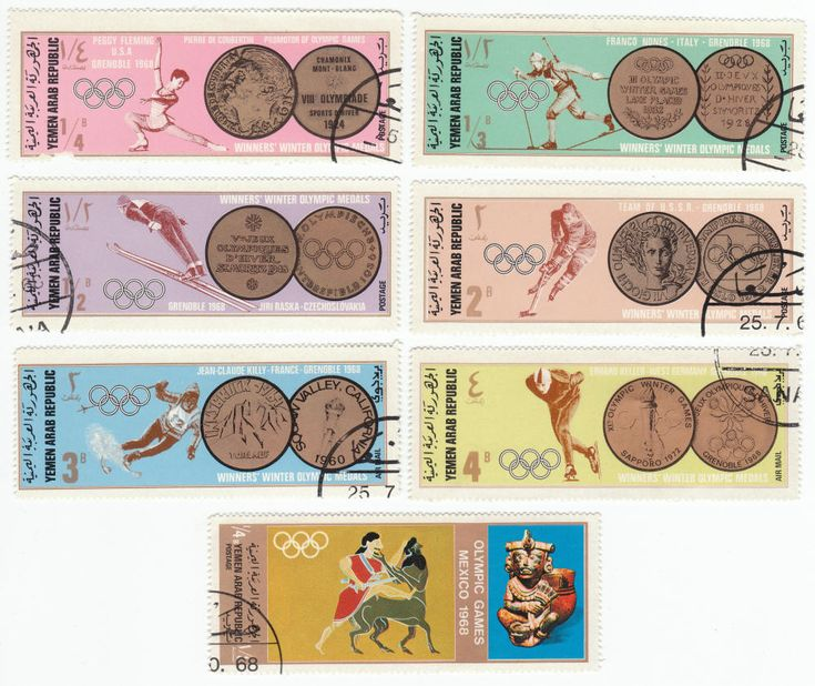 Olympics Postage Stamps: 1968, Lot of 12 different cancelled Olympic Games stamps, Yemen Arab Republic: issued September 10, 1968, 1968 Winter Olympic Games Grenoble, France Gold Medal Winners. All 12 for $2