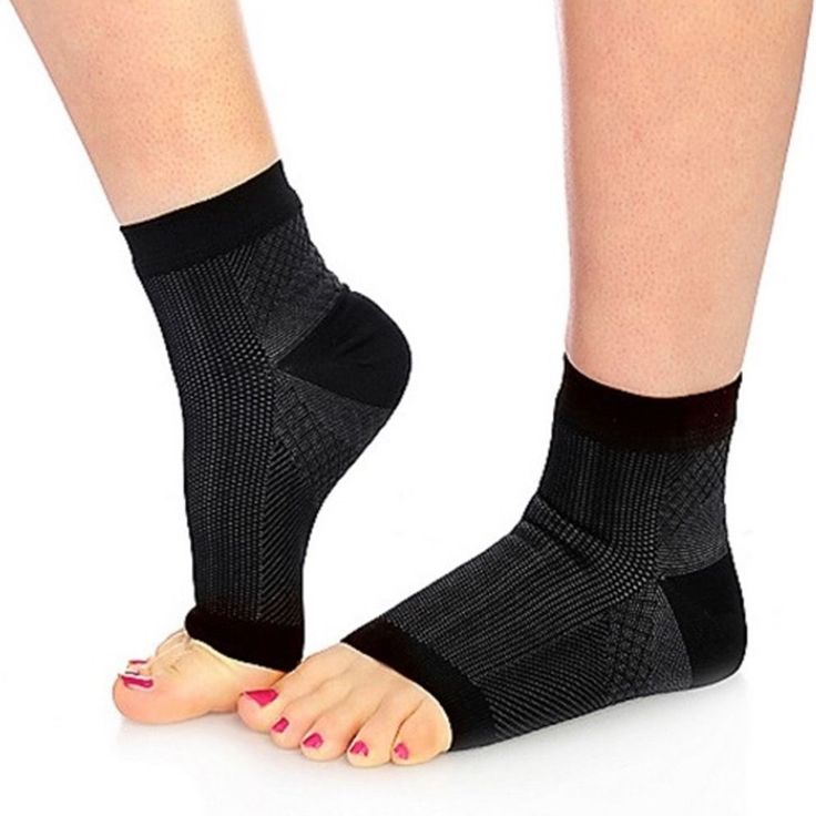 New 1Pair Ankle Compression Sleeve Arch Socks Heel Pain Relief Support Men Womens Foot Care FM0514
