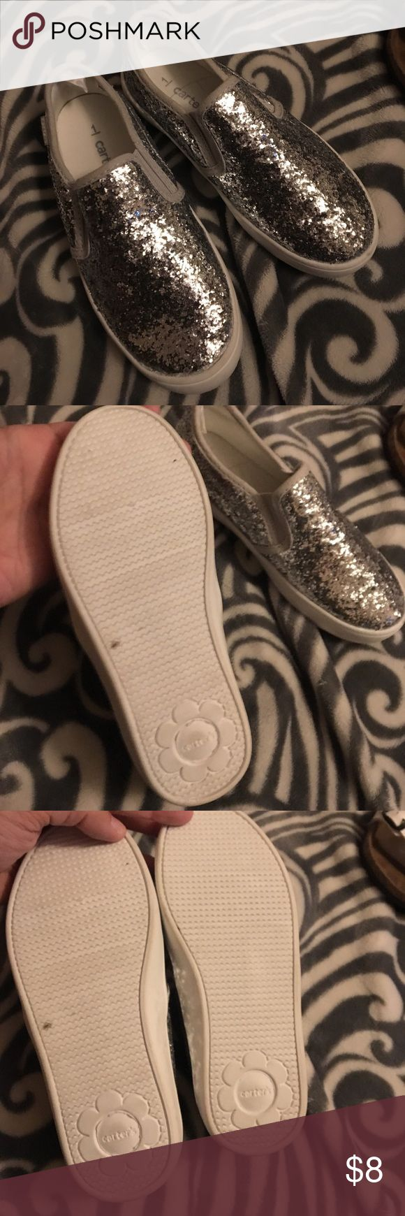 Carters slip on tennis shoes Silver glitter slip on tennis shoes! Never worn. Size 1 Carter's Shoes Sneakers