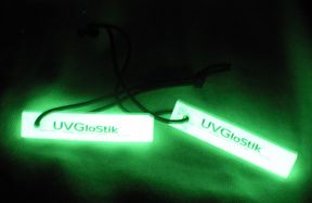 Permanent glow stick! Lasts forever, recharges with any light source.  http://www.uvpaqlite.com/uvglostik.html