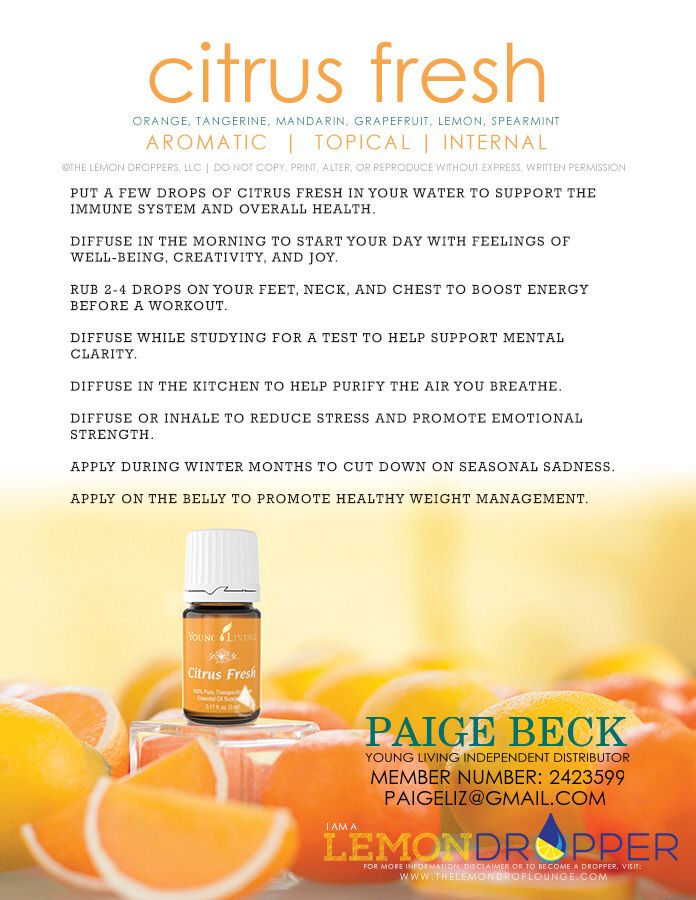 Citrus fresh. Essential oil. Young Living.