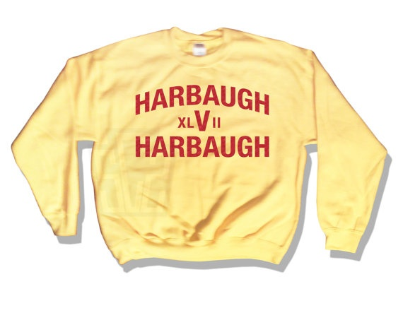 #SUPERBOWL #SBXLVII #HARBAUGH #HarbaughVsHarbaugh #HarbaughxlViiHarbaugh #HARBAUGHBROS #RAVENS #BALTIMORE RAVENS #GORAVENS #49ERS #9ERS #SANFRANSISCO #SANFRANSISCO49ers #FLACCO #FrankGORE Harbaugh V Harbaugh XLVII Super Bowl Party Tee 49ers Funny 49ers and Ravens Fan Apparel Handmade Not Sports Illustrated 18000 2013. $30.00, via Etsy.
