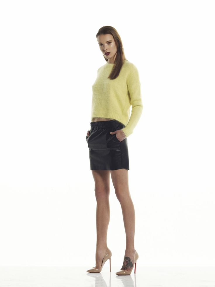 Bec & Bridge Mohair Sweater and Leather Skirt
