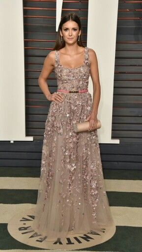 Nina dobrev in ellie saab gown at oscars vanity fair party
