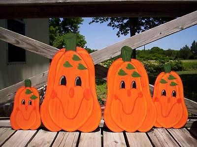 Happy Face Pumpkin Family 4 PC Fall Yard Art Decoration   eBay