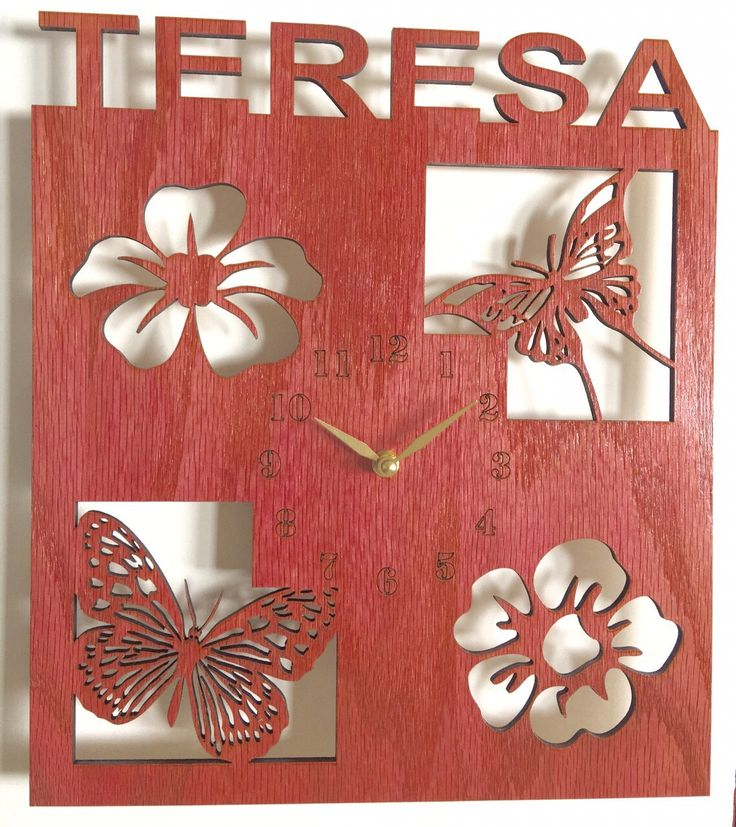 Personalized wall clock for kids with flower and butterflies. wall clock, wood clock, clock, personalized gift, personalized clock