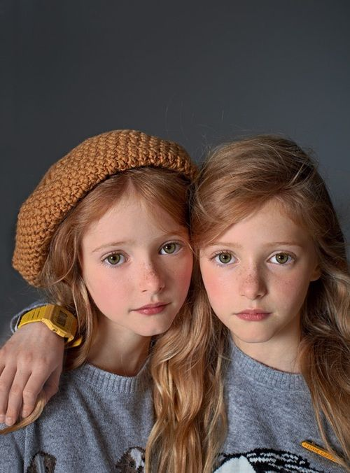 Brooklyn Sadie and Ireland Grace Green. (One with the hat on, imagine her with brown hair abd one on right blonde hair)