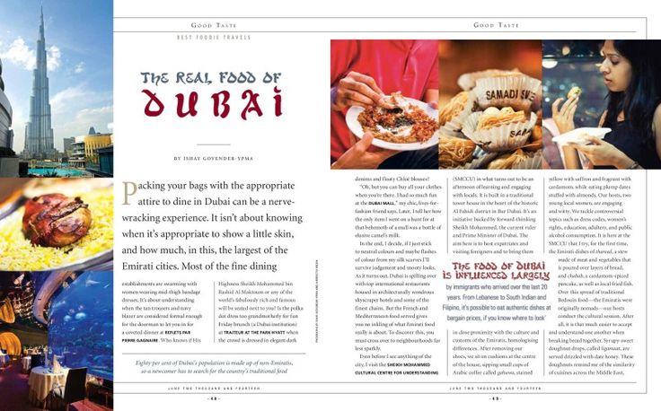 The food of Dubai in Good Taste Mag June 2014
