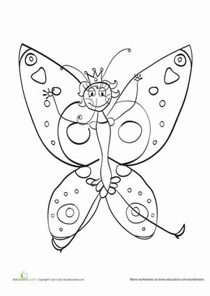 Kindergarten Animals Fairy Tales Worksheets Princess Butterfly Coloring Page