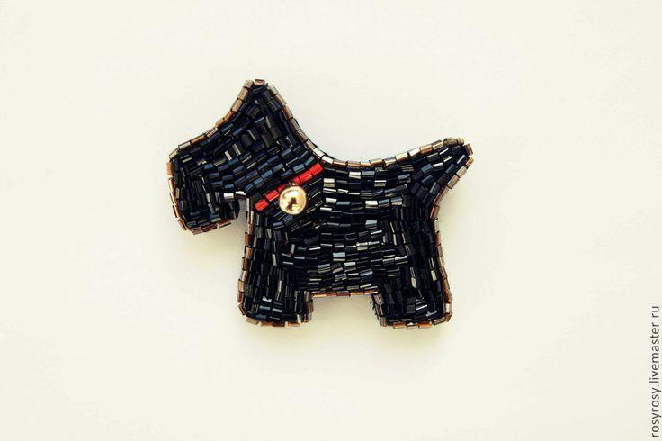 Купить Собака-Брошь Брошка из бисера 'My Champion' - черный, собака, собачка, шнауцер, друг