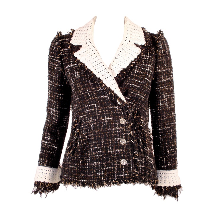 Chanel Black Boucle Wool Jacket with White Fleck Plaid. I'm ok with anything-Chanel.