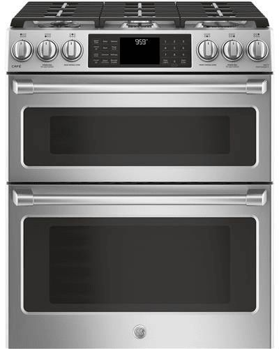 GE CGS995SELSS 30 Inch Slide-In Gas Range with Double Oven, WiFi Connect, Tri-Ring Burner, Oven Meat Probe, Cast Iron Griddle, Convection, Chef Connect, Star-K Compliant, ADA Compliant and 6.7 cu. ft. Total Capacity: Stainless Steel