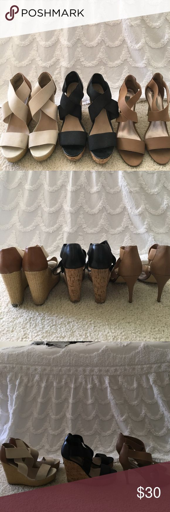 Steve Madden Shoe Sale! All are Steve Madden size 8.5. Please comment which shoe pair you're interested in buying & I will create an individual listing for you! Or, buy all 3 for just $30! Pairs are $15 each. Thanks! Steve Madden Shoes Wedges