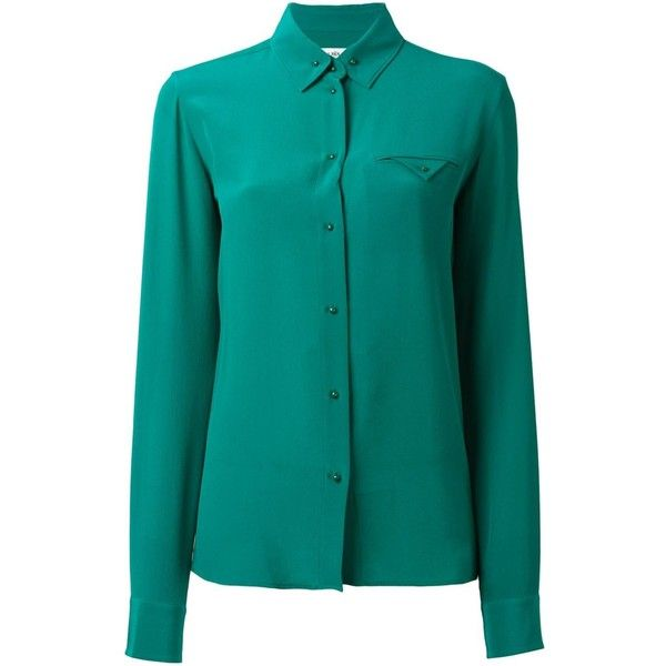Maison Margiela chest pocket shirt ($690) ❤ liked on Polyvore featuring tops, green, green long sleeve top, long-sleeve shirt, green silk top, green silk shirt and blue long sleeve top