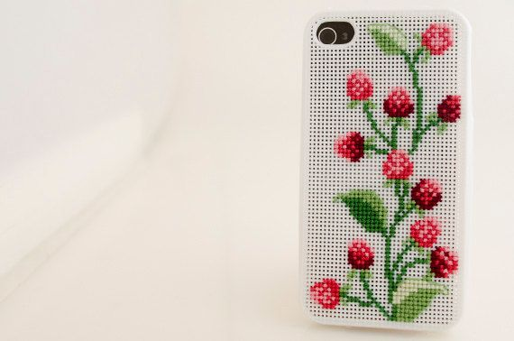 iPhone 4 & 4S Case - Cross Stitch - Berry