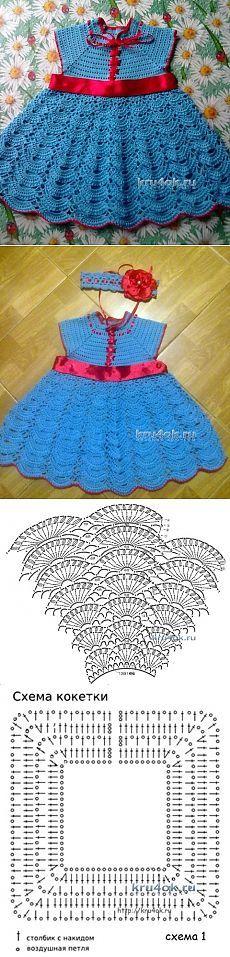 Платье для девочки — работа Анны Назаренко - вязание крючком на kru4ok.ru