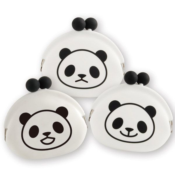 """The popular """"POCHI"""" purse with a cute  panda print. It can hold a large number  of coins. Unlike leather or fabric purses,  it never suffers from color transfer,  and can be handled easily even when  wet. It can be used for a wide variety of  purposes, including as a mini pouch for  candy, accessories, or keys."""