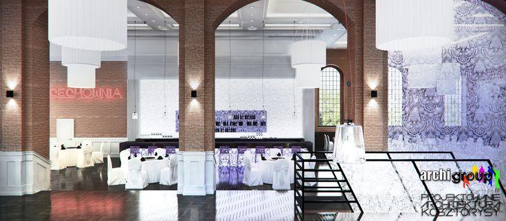 Boczna sala restauracji. Projekt wnętrz restauracji w Bytomiu / Interior design of a restaurant in Bytom. Side hall of the restaurant.