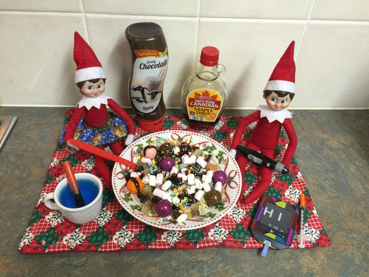 December 13th - Elvis might have drank too much maple syrup after watching Elf last night. Luckily he used some of Miki's insulin #elfontheshelf