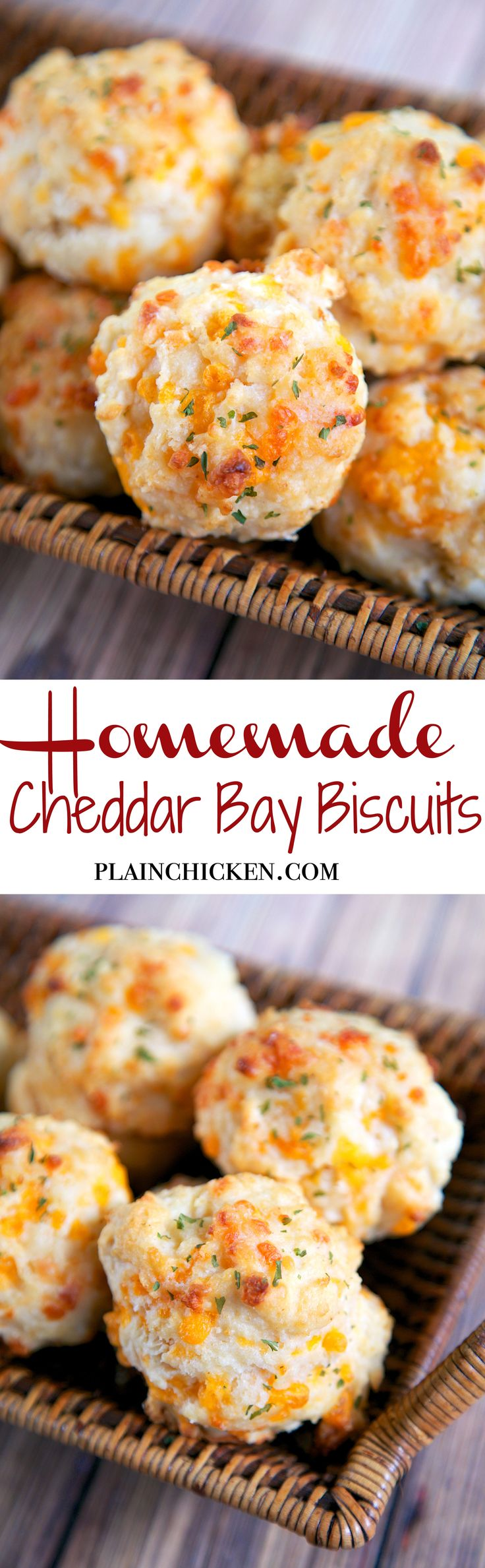 Homemade Cheddar Bay Biscuits - so quick and delicious! Self-Rising flour, butter, cheese, milk and melted butter. Ready in about 15 minutes. They taste better than the original!