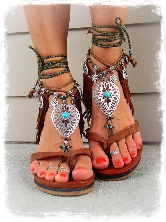 Khaki NATIVE BAREFOOT sandals Earthy Tribal Toe ANKLETS Eternal Knot Gypsy Sandals Garden Wedding Toe ankle bracelet Nature jewelry GPyoga