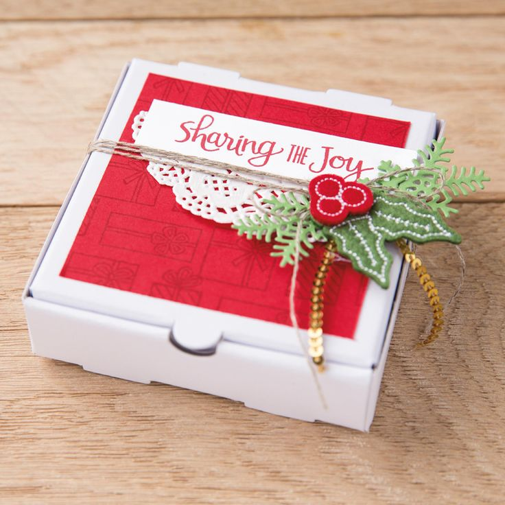 Stampin' Up! Mini Pizza Boxes, Stitched Felt Embellishments, Mini Gold Sequin Trim, Ready for Christmas and Christmas Staircase Thinlits