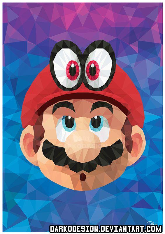 Super Mario Odyssey Mario And Cappy Poly Art By Darkodesign Deviantart Com On Deviantart Papeis De Parede Video Game