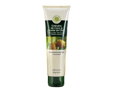 GEL EXFOLIANTE COCO & ACEITE DE OLIVA  Gránulos de Coco & Aceite de Oliva Para todo tipo de piel Cont. 120 g.