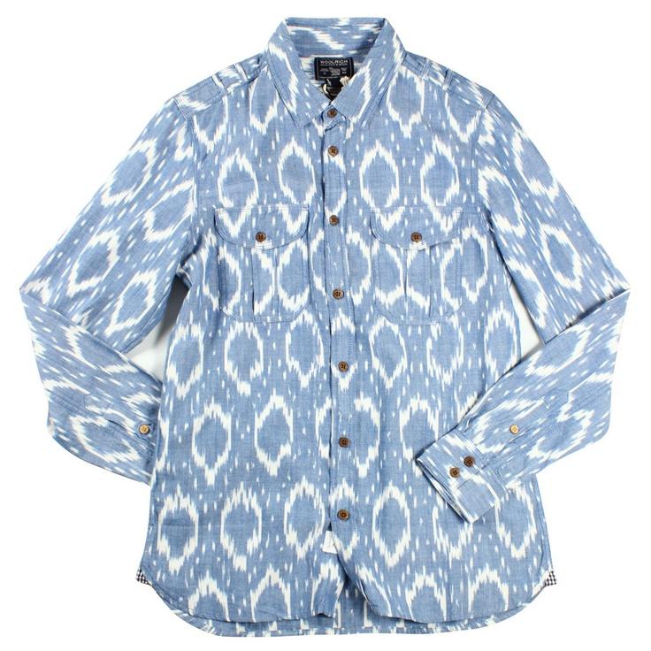 Woolrich Blue Ikat Military Shirt Mens Shirts