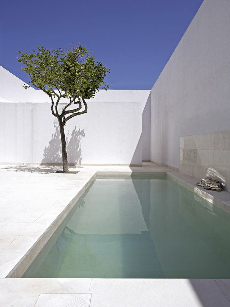 Walled patio and pool. Gaspar House by Alberto Campo Baeza.