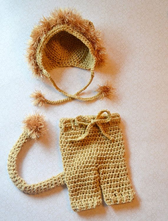 Newborn Lion Hat and Pants with Tail Set Baby by ...