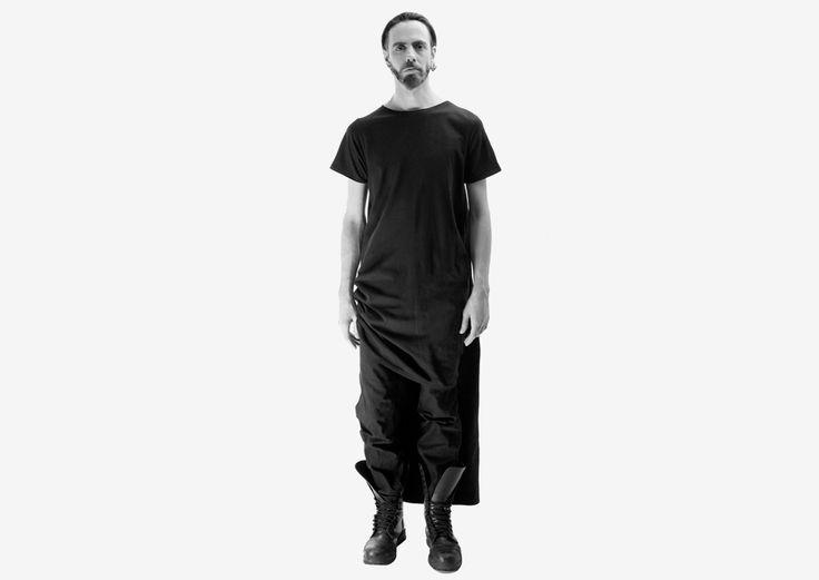 "Unisex Double Tube Dress in black from ""OKKULT"", the 2013 collection by swiss/swedish designer SARA BURKHARD."