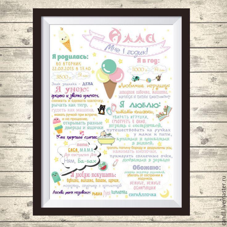 Купить Постер достижений 1 годик - постер, меловая доска, постер в детскую, постер для детской