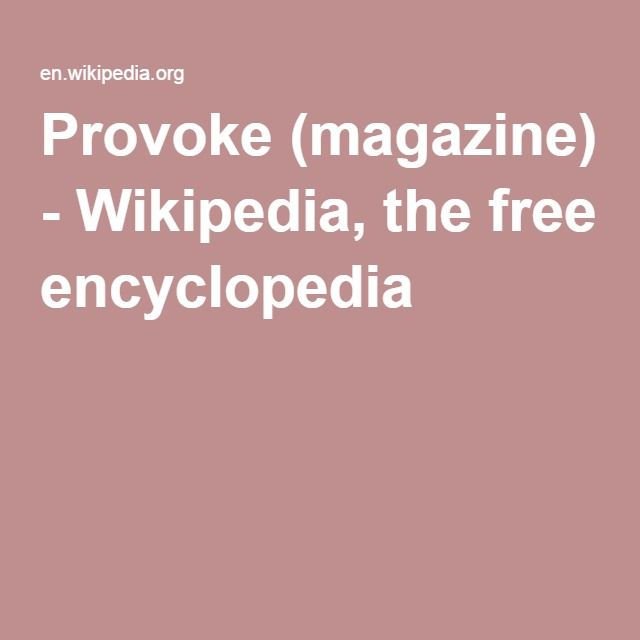 Provoke (magazine) - Wikipedia, the free encyclopedia