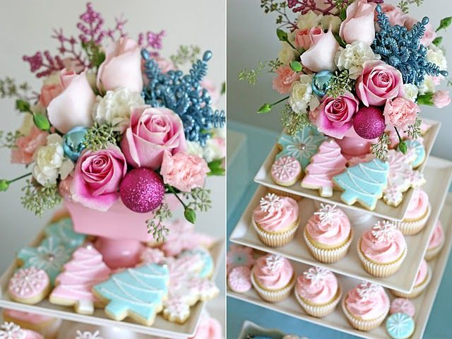 Vintage Pastel Christmas Dessert Table, from Glorious Treats.......hmmmm, maybe next year we will have Christmas in pink!