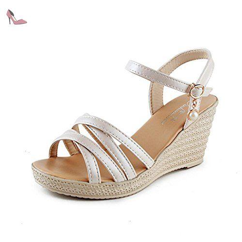 Chaussures Sandales d'été brodé de Pente à Fond épais Bouche du Poisson de Paille,Black,34