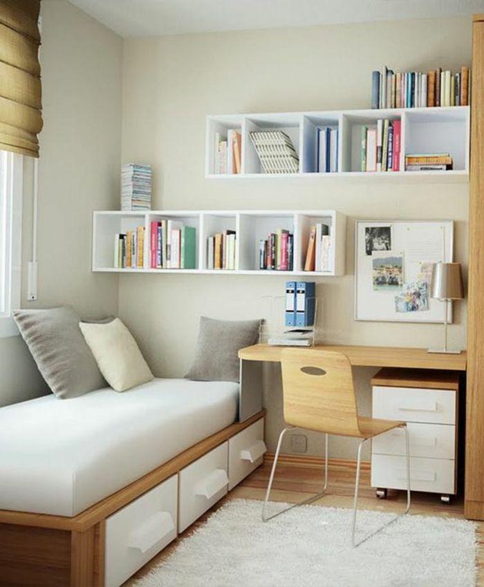 Amenagement Petite Chambre Ado #10: Comment Aménager Une Petite Chambre, étagère Blanche En Cubes, Lit Avec  Rangement, Petit