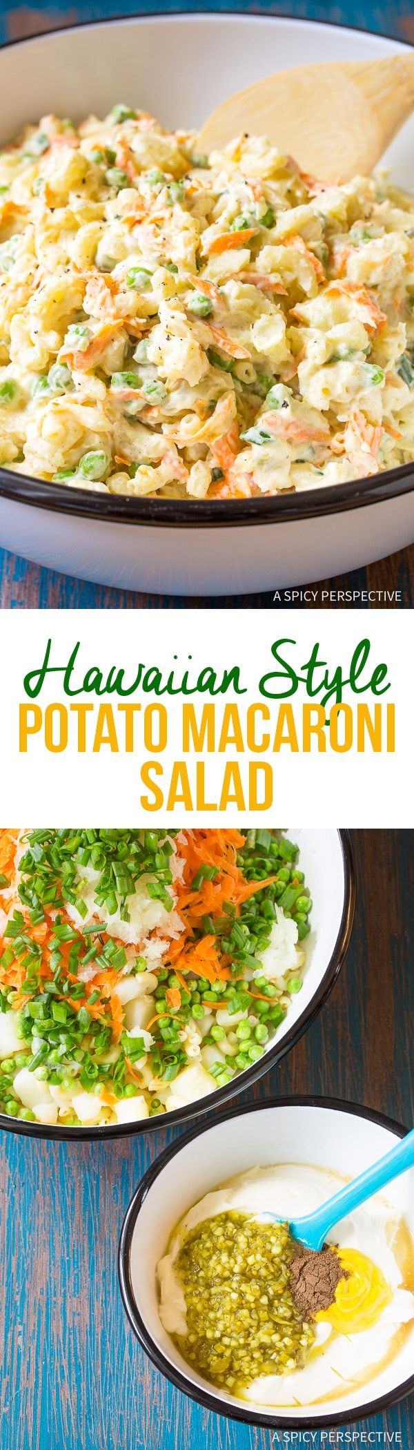 Hawaiian Style Potato Macaroni Salad - A Hawaiian plate lunch special! Creamy macaroni salad with tender chunks of potato, sweet peas, and carrots mixed in. via @spicyperspectiv