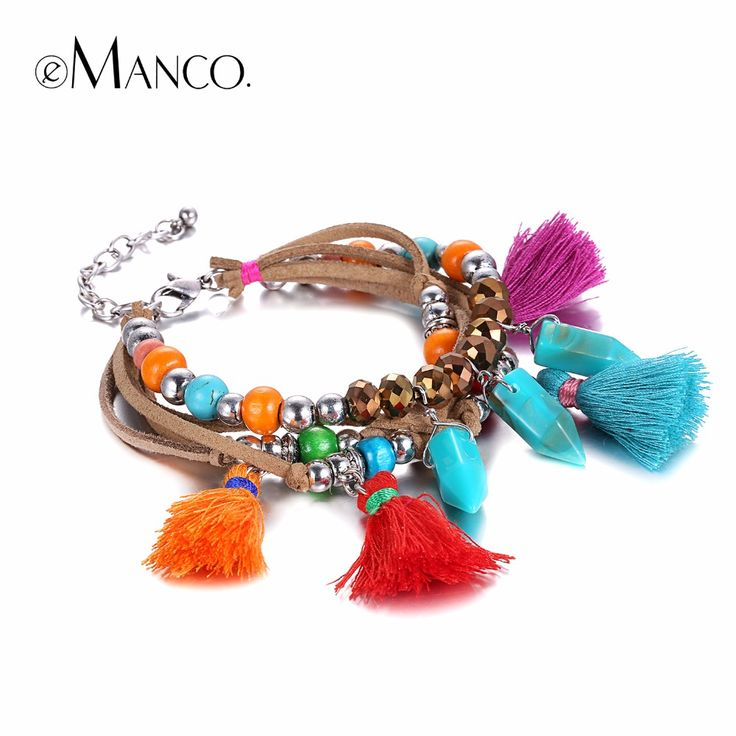 Trending Colorful Bohemia Multilayer Tassel Charms Bracelets  Bangles for Women Resin Rope Accessories Jewelry