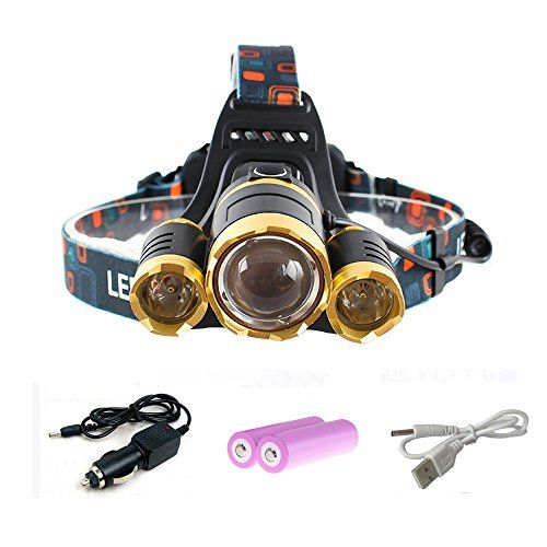 Headlamp Flashlight QianHai 5400LM 4 Modes Bright Headlight Torch 3 CREE XML2 T6 LED with Rechargeable Batteries and Car Charger for Hiking Camping Running Riding Fishing Hunting Reading Gold * For more information, visit image link.