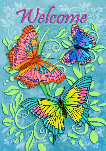 "Custom Decor Flag - Welcome Butterflies This trio of brightly colored butterflies is lovely way to welcome your friends and family. This Custom Decor flag was designed by artist Mary Lou Troutman and is available in the garden flag size [12.5"" x 18""] and standard house flag size [28"" x 40""]."