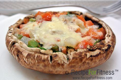 Stuffed Portabella: 1 large portabello mushroom cap, 1/2 cup baby spinach leaves, raw, 2 Tbsp pico de gallo (diced tomato, onion, jalepeno), 1 Tbsp reduced fat feta, 1 Ziploc Steamer Bag