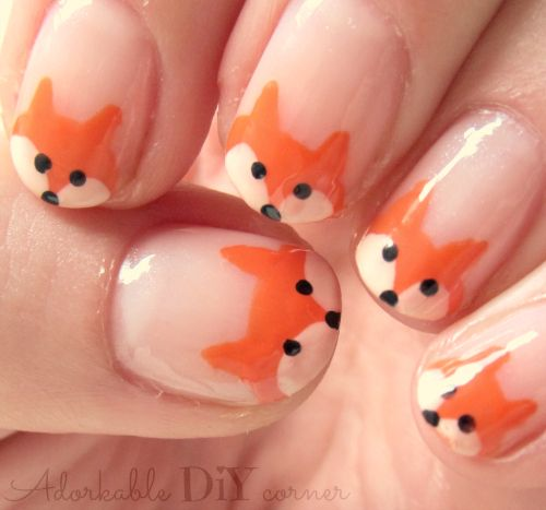 french fox nail art // adorkable DIY corner