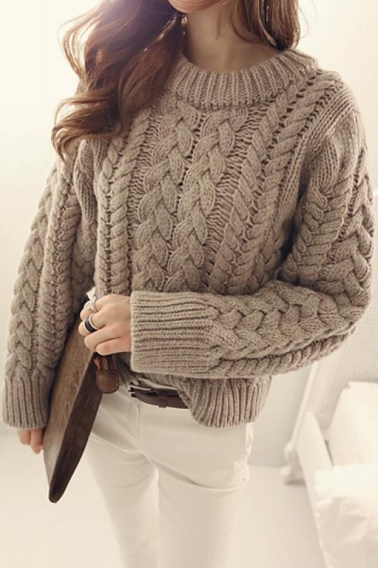 Plain Round Neck Long Sleeve Pullover Sweater