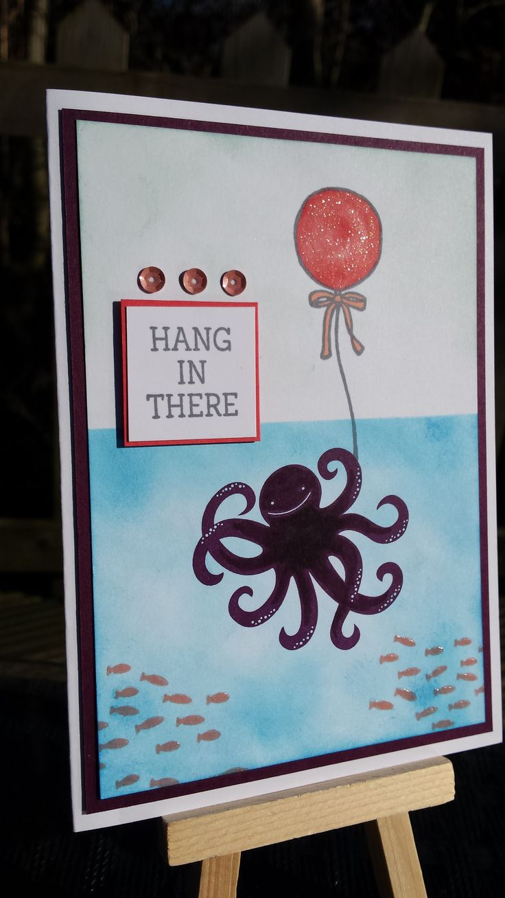 Hang In There Octopus! - A card with a little humour :) as I'm always looking for that special touch ;) Made for www.global-design-project.com #023 - I used stampsets Sea Street and Honeycomb Happiness in the colours Pool Party, Pacific Point, Blackberry Bliss, Crisp Cantaloup, Blackberry Bliss and Basic Grey. Small details: Wink of Stella, Sequins and Crystal Effects. Stampin' Up! by Sandra Kleine ♡